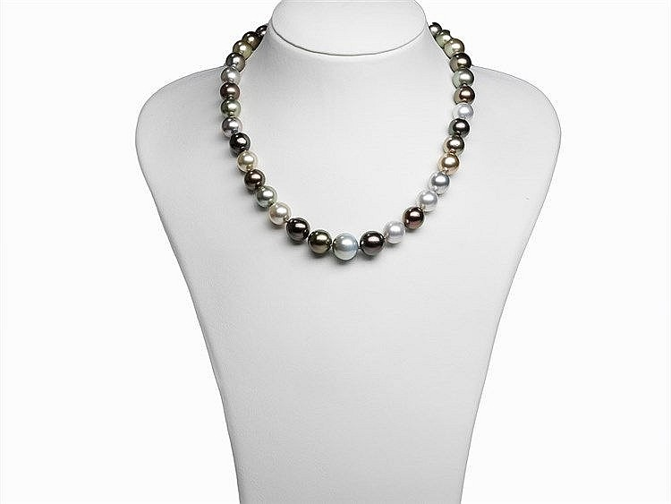 Schoeffel Multicolor Tahitian Pearl Necklace 10-14mm with Clasp