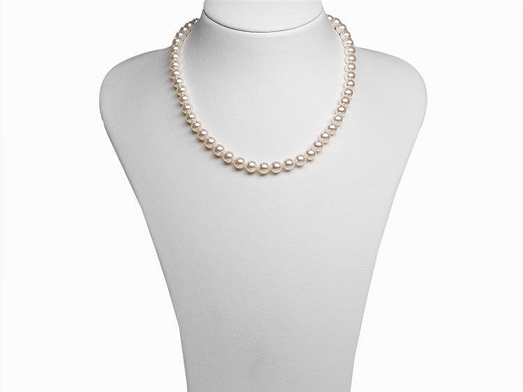 Akoya Pearl Necklace 7.5 - 8 mm with 14 Karat Gold Clasp