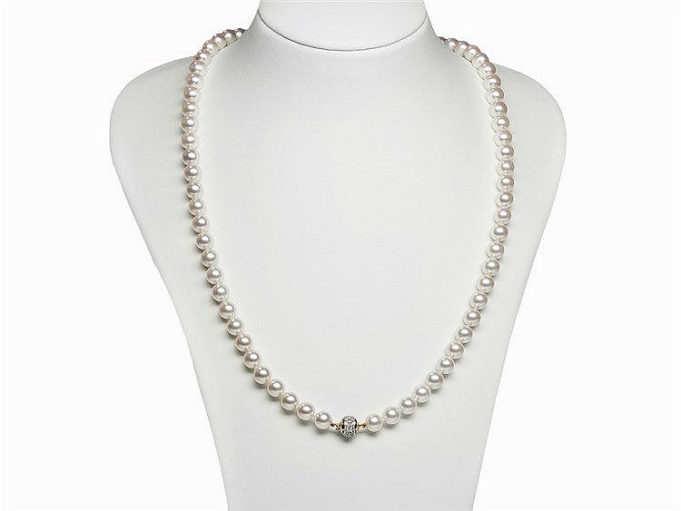2 Akoya Pearl Necklaces 8.5 - 9 mm with 18K Gold Clasps