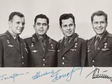A Signed B/W-Photography of the Cosmonauts Vostok 1-4, 1960s