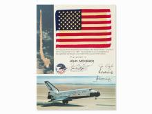 STS-2, Flown US Flag with Signed Presentation Certificate, 1981