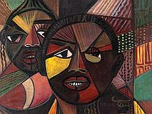 Jaime Colson, Painting, 'Two Heads', Dominican Republic, 1957
