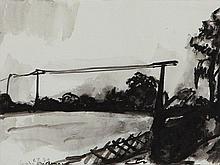 Klaus Fußmann (born 1938), Ink Drawing 'Gelting', 1979
