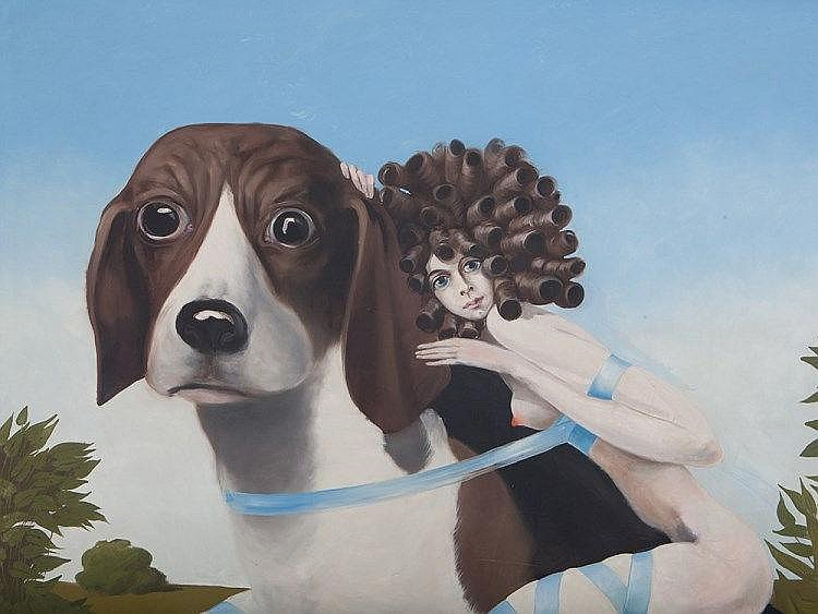 Henri Plotin, 'Queen Elisabeth on Her Most Loved Beagle', 1971