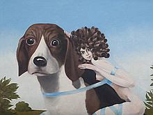 Henri Plotin, 'Queen Elisabeth on Her Most Loved Beagle', 1971