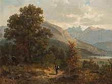 Bernhard Mühlig, Hiker in Alpine Landscape, Oil, 2nd H. 19th C.