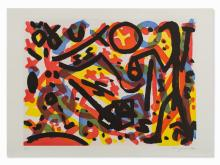 A.R. Penck, From: Berlin Suite, Aquatint in Colors, 1990