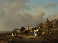 Franz van Severdonck (1809-1889), Flock of Hens, Painting, 1871