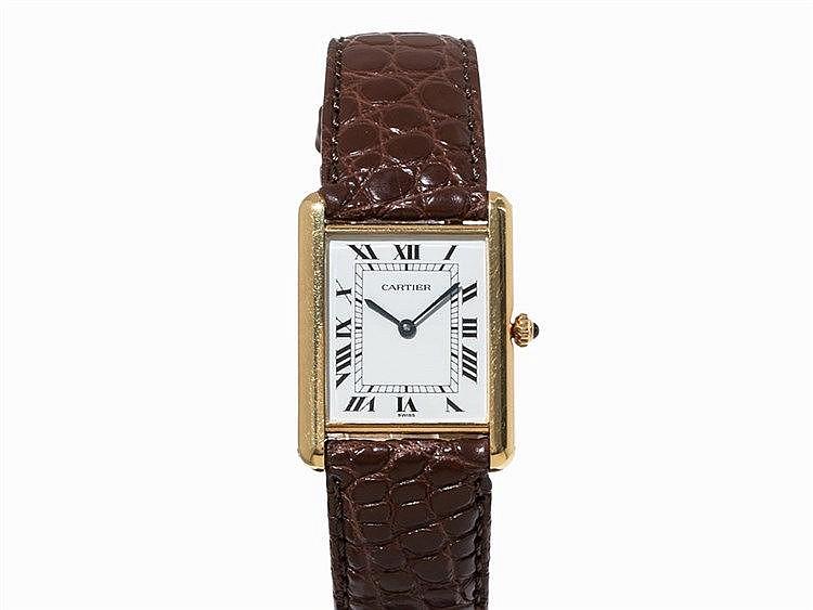 Cartier Tank Wristwatch, 18K Gold, Switzerland, um 1990