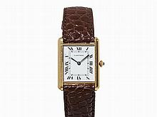 Cartier Tank Wristwatch, 18K Gold, Switzerland, um 1990