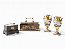 Two Inkstands and a Pair of Vases, pres. France, 18th/19th C.