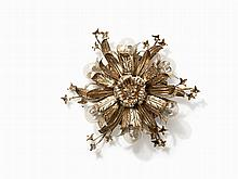 Ceiling Light with Floral Décor, Italy, 1950s