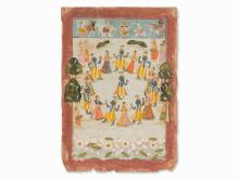 Miniature, Krishna and the Dancing Gopis, India, 18th/19th C.