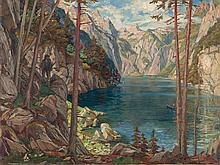 Porsch, Oil Painting 'Königssee with Watzmann