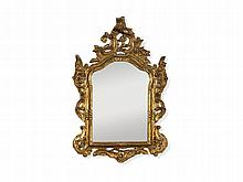 Ornate Golden Wall Mirror, Rococo Style, 20th C