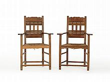 Pair of 'Worpsweder' Armchairs with Rush Wickerwork, c. 1910