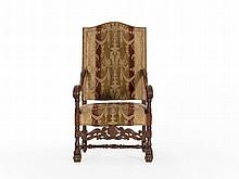 Baroque Style Armchair with Velvet Upholstery, around 1880