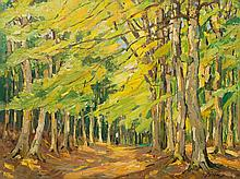 Carl Jörres, Oil Painting, Forest Path with Walker, 1920s