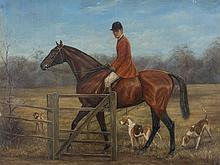 J. Gordon, Oil Painting, Rider with Hounds, England, c. 1900