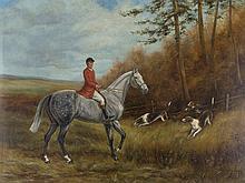 J. Gordon, Oil Painting, The Hunting, England, c. 1900