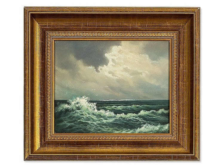 Fritz Haack, Oil Painting, Moving Sea, Germany, 20th Century