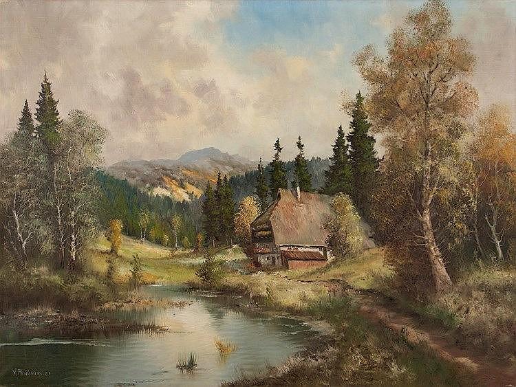 J. Frühmesser 'Farmhouse near Footpath', Painting, 20th Century