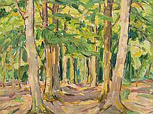Carl Jörres, Oil Painting, Forest Landscape, Worpswede, 1920s