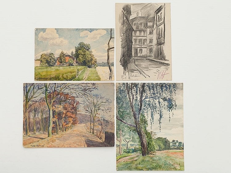 Watercolours and 1 drawing with Potsdam vistas, 1920er