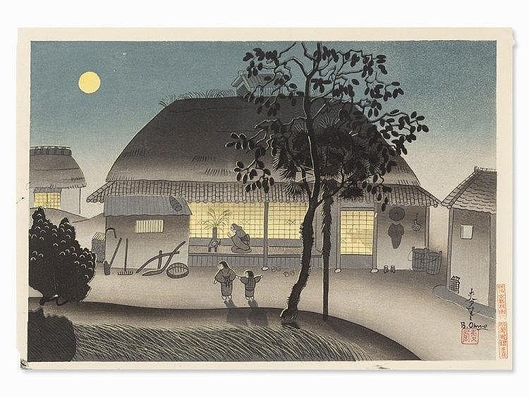 ONO Bakufu, Woodcut 'Farmhouse in the Evening', 1952