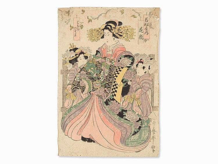 KITAGAWA Utagawa II, Woodcut 'Courtesan Hanateru', 1810's