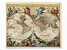 Jaillot's Decorative World Map, Nova Orbis Tabula, Paris, 1694