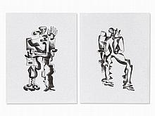 Ossip Zadkine, Abstract Figures, 2 Lithographs, 1968