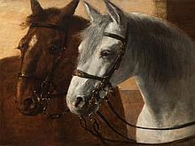 Arthur Kurtz (1860-1917), Portrait of Two Horses, Austria, 1895