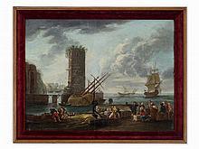 Orazio Grevenbroeck Manner, Mediterranean Harbor, 19th C.