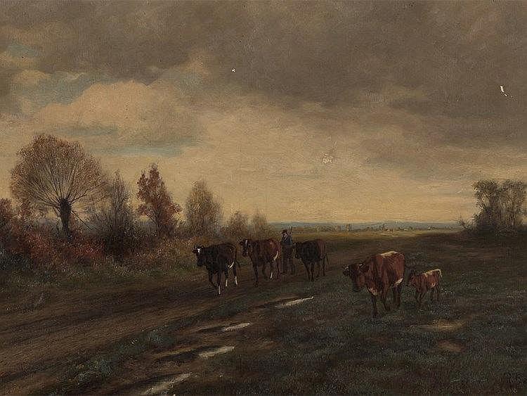 Robert Beielstein (1859-1930), On the Way Home, Oil, 1903