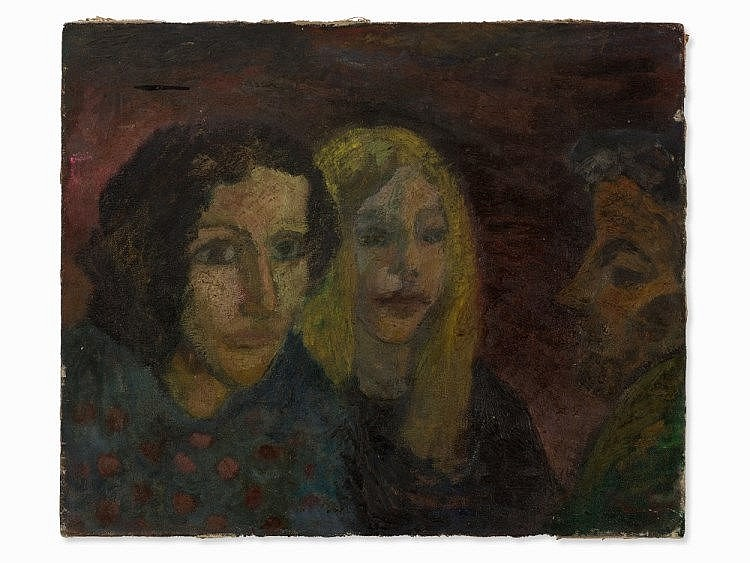 Ralf Kerbach, Oil on Canvas, Two Sisters, c. 1980/90s