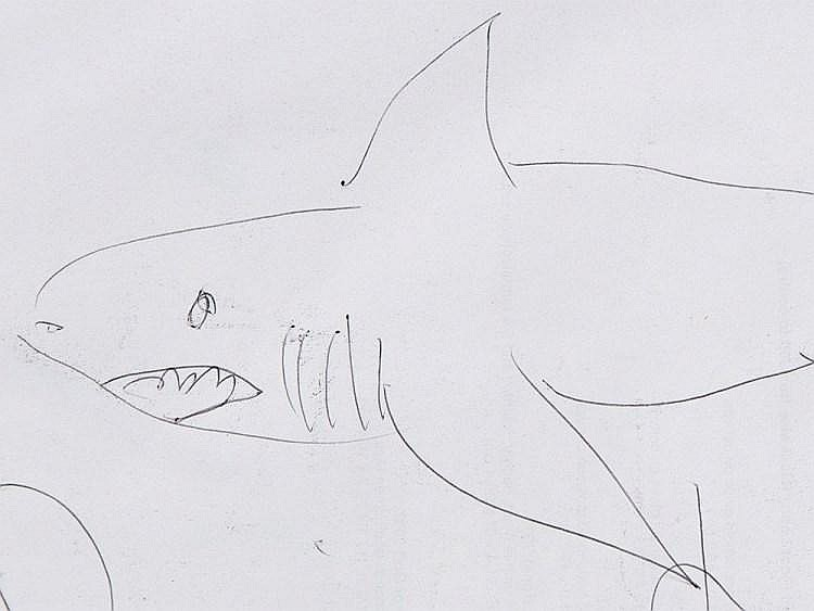 Damien Hirst B 1965 Shark Ballpen Drawing 2007