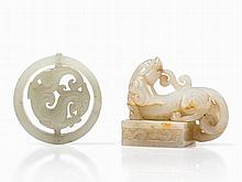 Two Pale Celadon Jade Carvings of a Seal and a Pendant, Qing