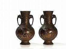 Miyao Eisuke, Signed Pair of Bronze Vases with Kintaro, Meiji