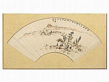 Matsudaira Shungaku (1828-1890), Fan Painting, Landscape, Japan