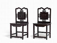 Pair of Zitan Chairs with Finely Carved Back Panels, Qing