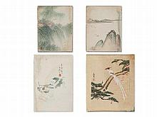 Collection of 3 Paintings & 1 Woodcut, China, 1st half 20th C