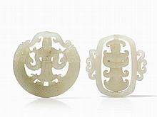 Two Matched Pierced Jade Pendants in Pale Celadon tone, Qing
