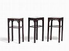 Three High Side Zitan Tables with Openwork Carving, China, Qing