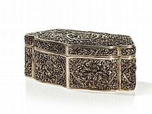 Pierced Silverplated Box and Cover with Floral Décor, Qing