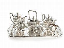 Magnificent Silver Armorial Nine-Piece Tea Set, Japan, Meiji