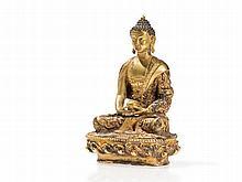 Fire Gilt Sino Tibetan Bronze of Buddha Amitābha, 20th C