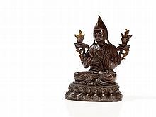Tsongkhapa Bronze with Lotus on the Sides, Sino-Tibetan, 20th C