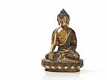 Gilt Bronze Figure of Buddha Shakyamuni, Tibet, 19th/ 20th C