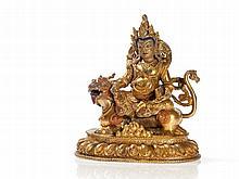 Fire Gilt Dharmapala Vaisravana Bronze with Mongoose, 20th C